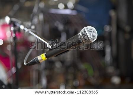 microphone in recording studio - stock photo