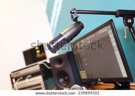 microphone in studio - stock photo