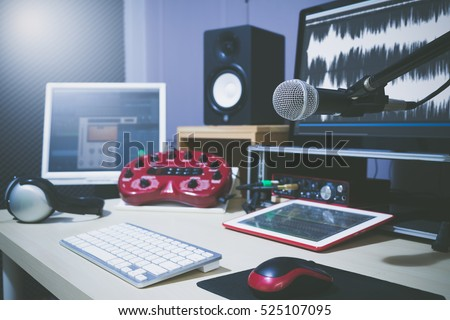microphone in studio for voice actor, radio broadcasting, post production, recording, DJ concept