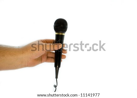 microphone is in a hand