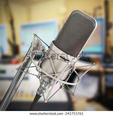 Microphone isolated in the studio. Please speak. - stock photo