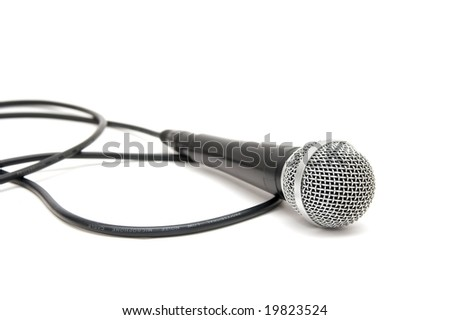 Microphone isolated on pure white background - stock photo
