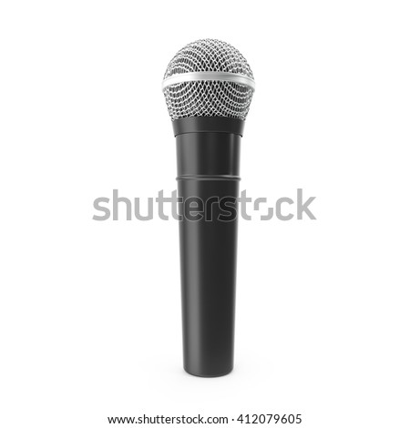 Microphone isolated on white background with shadow. 3D illustration