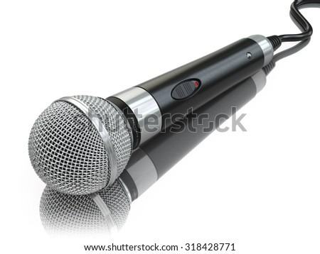 Microphone isolated on white. Caraoke or news concept. 3d - stock photo
