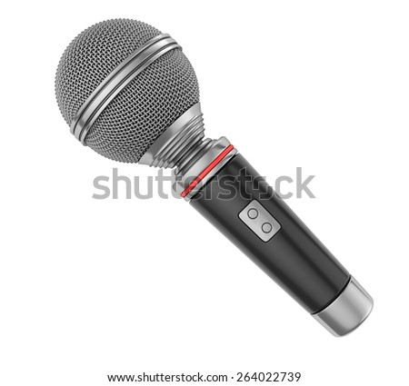 Microphone isolated on white. 3d render - stock photo