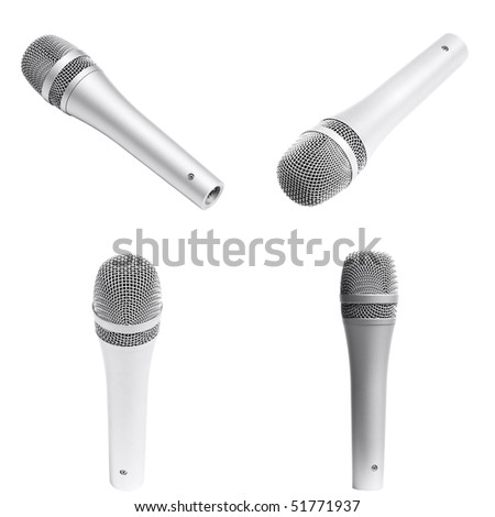 microphone isolated over white background - stock photo