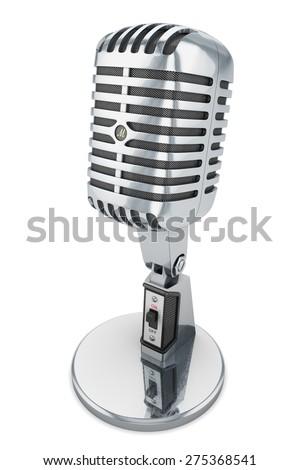 microphone isolated retro vintage mic studio audio classic chrome white background - stock photo