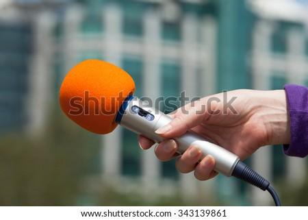 Microphone. Media interview. - stock photo