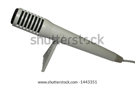 Microphone, mounted on stand, for computer recording of voice narration, sound, and music - stock photo