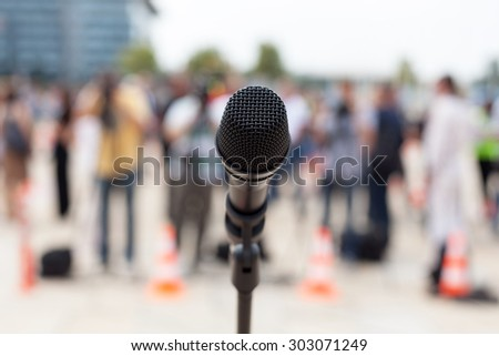 Microphone. News conference.  - stock photo