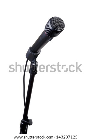 Microphone on a stand on a white background.