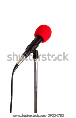 Microphone on a stand with a red cover on a white background - stock photo