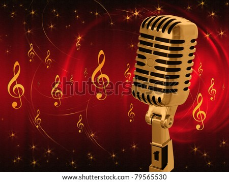 Microphone on abstract musical background - stock photo