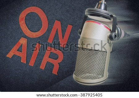 microphone on air - stock photo