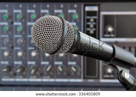microphone on background equipment