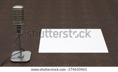 microphone on background. High resolution 3d - stock photo