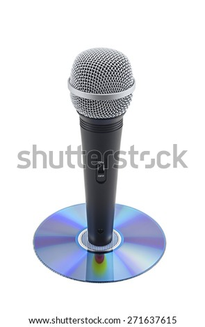 Microphone on CD on white background - stock photo