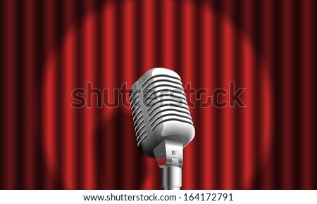 microphone on curtain - stock photo