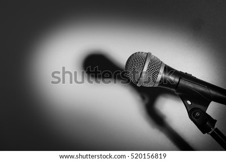 microphone on gray background