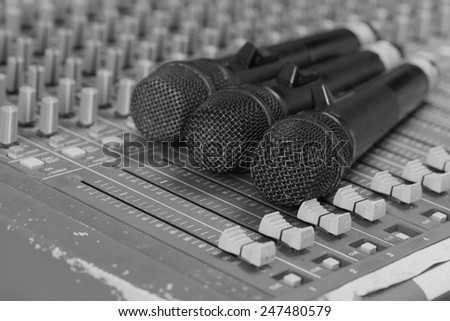 Microphone  on Mixer Old close.(Black and white)