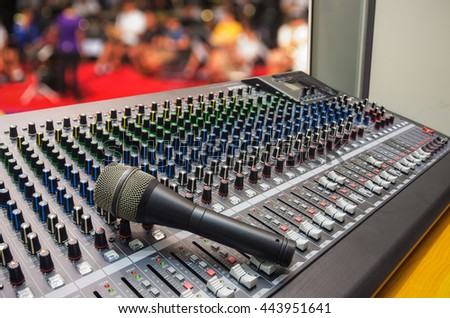 Microphone on mixer with blurred musical background, mixer music, mixer board. - style vintage. - stock photo