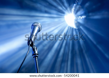 microphone on stage - stock photo