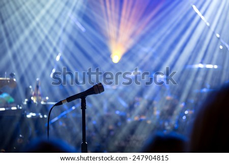 microphone on stage before the concert - stock photo