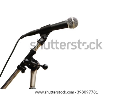 microphone on stand ,isolate white background - stock photo