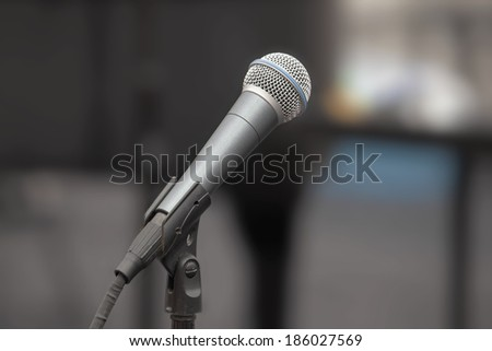 Microphone on Stand on Live Concert Performing Stage Closeup