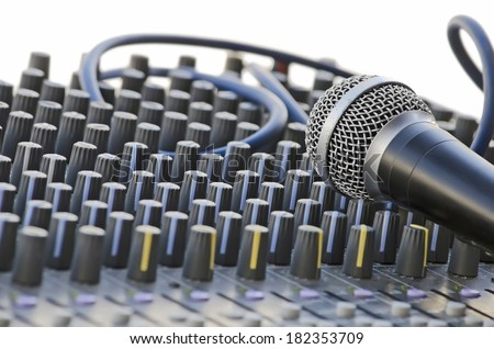 Microphone on the sound mixer, isolated over white
