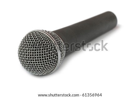 microphone on white - stock photo