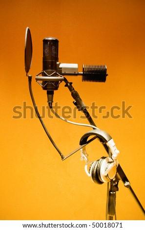 microphone recording studio - stock photo