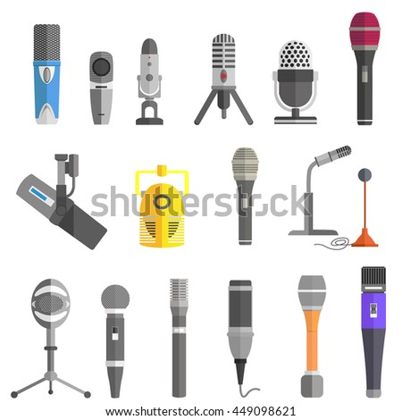Microphone set design flat isolated icon, vintage microphone stand, sound media, record vocal musical web broadcasting microphone  illustration - stock photo