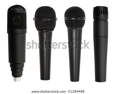 microphone set isolated on white background with clipping path