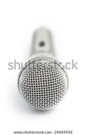Microphone. Shallow DOF. Isolated over white background - stock photo