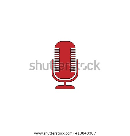 Microphone Simple red icon on white background. Flat pictogram