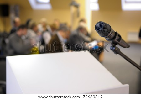 Microphone stand at conference. - stock photo