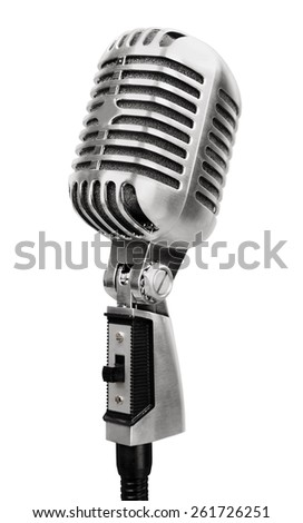 Microphone. Vintage silver microphone isolated on white background - stock photo