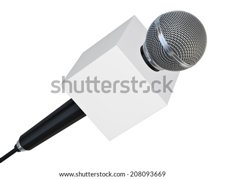 Microphone with blank box for press or tv - isolated on white background  - stock photo