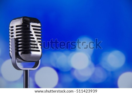 microphone with blue background