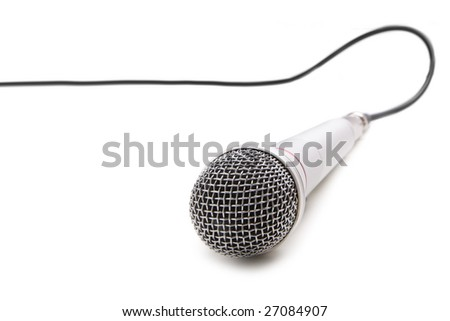 Microphone with cable isolated over white background