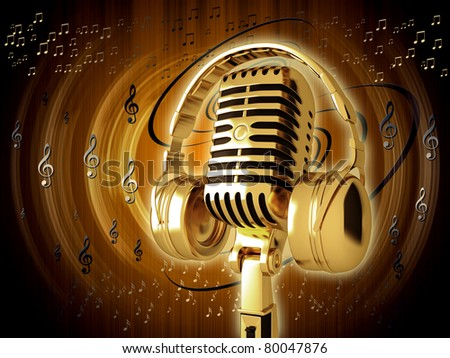 Microphone with headphones on background - stock photo