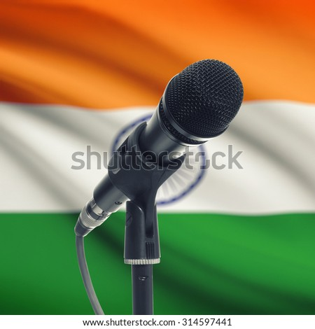 Microphone with national flag on background series - India - stock photo