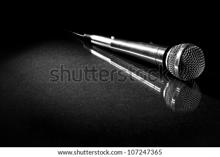 Microphone with Reflection - stock photo