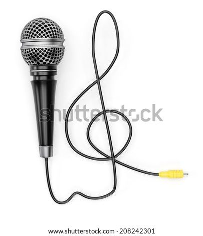 Microphone with treble clef shaped cable isolated on white background. 3d rendering image