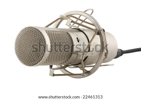 Microphone with white background - stock photo