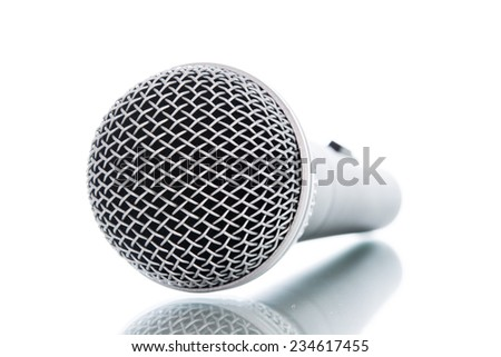 microphone without cable isolated on white over background - stock photo