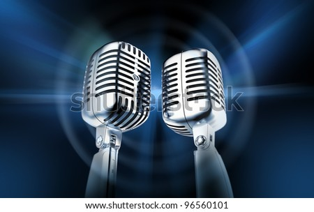 Microphones, blog concept - stock photo