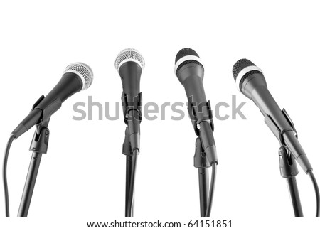 microphones collection isolated on white - stock photo