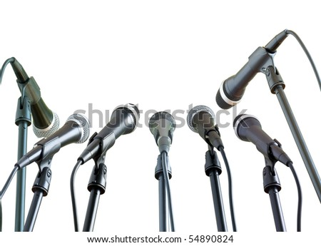 microphones isolated in white - stock photo